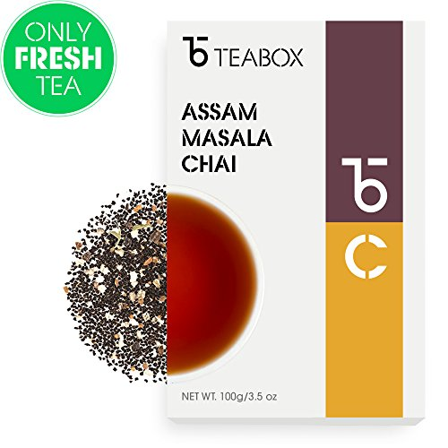 Teabox Assam Masala Chai Spiced Loose Leaf Tea | Fresh Loose Leaf Tea Leaves with Cinnamon, Cardamom, Black Pepper, Clove, Ginger | Best English Breakfast Chai Tea for Latte | 3.5 Oz (Makes 60+ Cups)