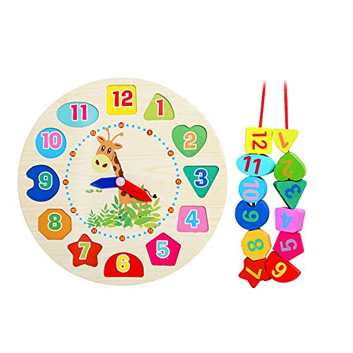 Find Discount Blocks Large Lacing Bead Set for Kids Wooden Shape Color Sorting Clock Bead Stringing ...