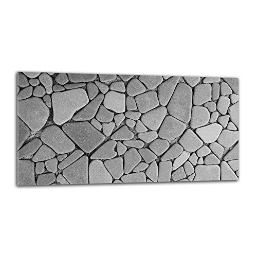 decorwelt Küchenrückwand Spritzschutz aus Glas 80x40 cm Wandschutz Herd Spüle Küchenspritzschutz Fliesenschutz Fliesenspiegel Küche Dekoglas Steine Grau