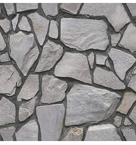 Beyond Deko Fließenaufkleber 3D Steinwandoptik Wandaufkleber 30 x 30 cm, 6er-Set, Selbstklebend, Stein Grau 518