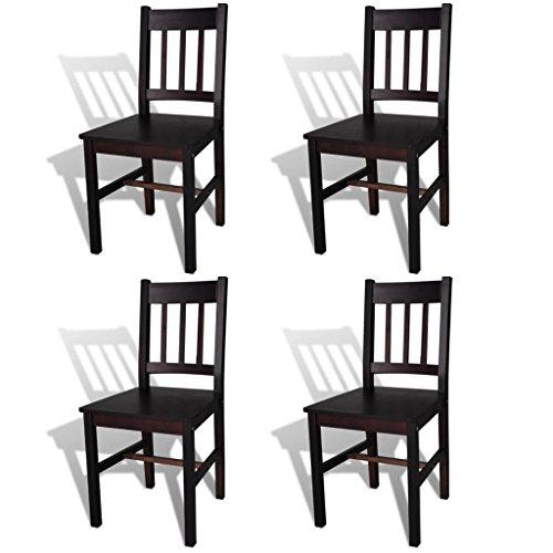 Tidyard 4 Stühle Holzstuhl Esszimmerstuhl Küchenstuhl aus Massiver Kiefer in Dunkelbraun, 41,5 x 45,5 x 86 cm (B x T x H)