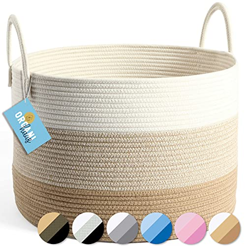OrganiHaus XXL Cotton Rope Blanket Basket | Rope Storage Baskets for Organizing | Rope Laundry Basket and Nursery Hamper | Decorative Basket for Blankets and Toy Basket (Wide) 20x13-3 Toned Honey