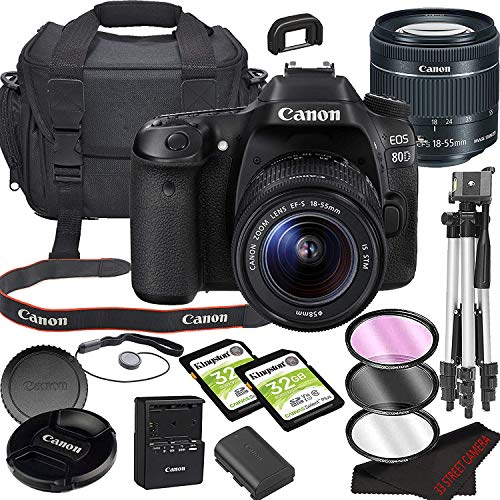 Canon EOS 80D DSLR Camera Bundle with 18-55mm STM Lens | Built-in Wi-Fi|24.2 MP CMOS Sensor | |DIGIC 6 Image Processor and Full HD Videos + 64GB Memory(17pcs)