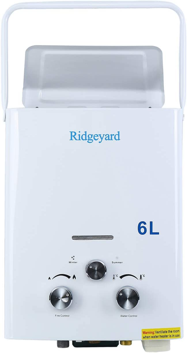 Ridgeyard Tankless Water Heater 6L Portable Water Bolier with Sh