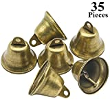 Favordrory 35PCS 38mm/1.5inch Vintage Bronze Jingle Bells, Craft Bells for Dog Potty Training, Housebreaking, Making Wind Chimes, Christmas Bell and etc