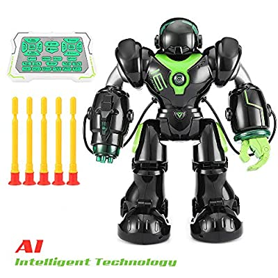 Lovstory RC Robot War Warrior Remote Control Smart Robots Rechargeable Intelligent Programmable Led Humanoid Robot Best Gift for Boys Girls Kids Companion - Black+ Green