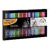 BIC Intensity Estuche de 32 rotuladores de punta fina y media - Colores surtidos para escribir, dibujar, colorear - Estuche de Regalo