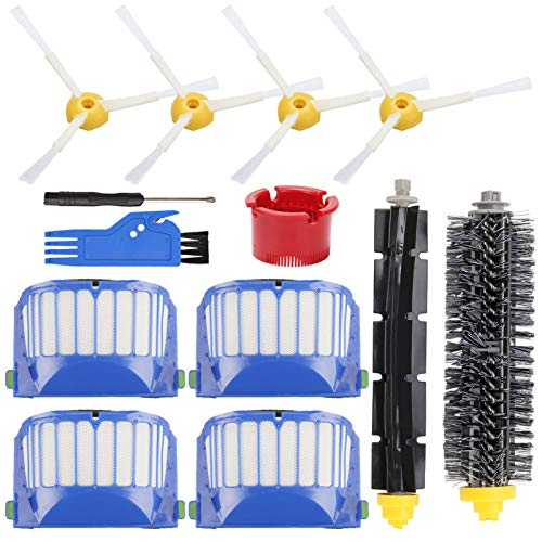 Replacement Parts Accessory for iRobot Roomba 600 Series 692 690 680 660 651 650 620 618(Not for 645 655 675)564 552 Vacuum Cleaner Replenishment Kit, 4 Filter 4 Side Brush 1 Bristle & Beater Brush