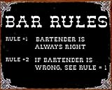 Bar Rules #1 Bartender Is Always Right Distressed Look Tin Collectible Sign Gift
