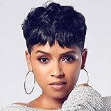 Divine Hair Short Black Pixie Cuts Hair Synthetic Short Wigs For Black Women Natural Short Hair Wigs Short Pixie Cut Black Hair Women's Fashion Wig (Blacka)