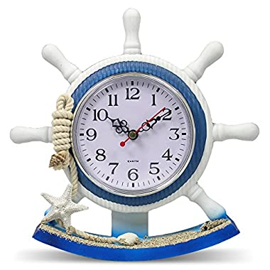 Nautical Clocks - Sailboat Steering Wheel Helm Decoration - Nautical Decor - Beach Decorations - 8.5 Inch