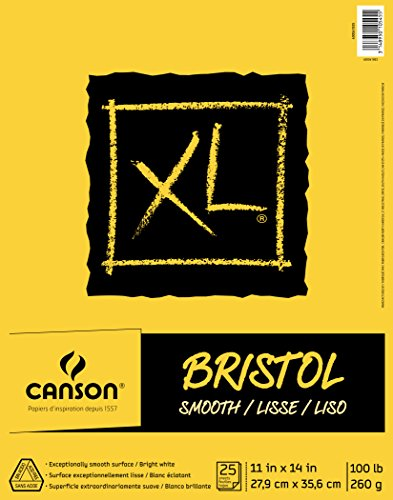 Canson XL Series Bristol Pad, schweres Papier für Tinte, Marker oder Bleistift, glattes Finish, gefaltet 11