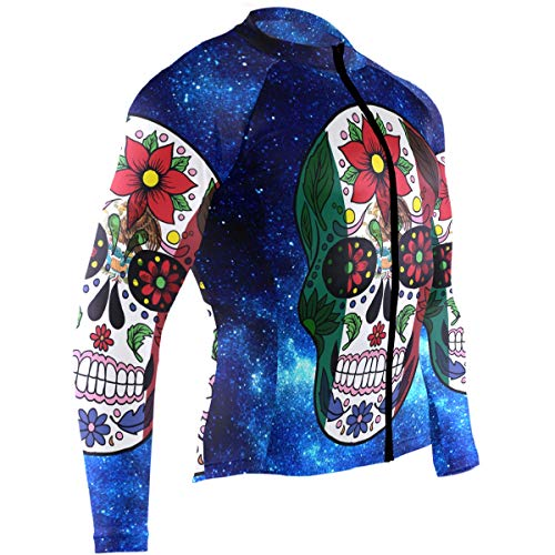 Mens Cycling Jersey Mexican Sugar Skull Day of The Dead Retro Vintage Mexico Biking Bicycle Jersey Shirt