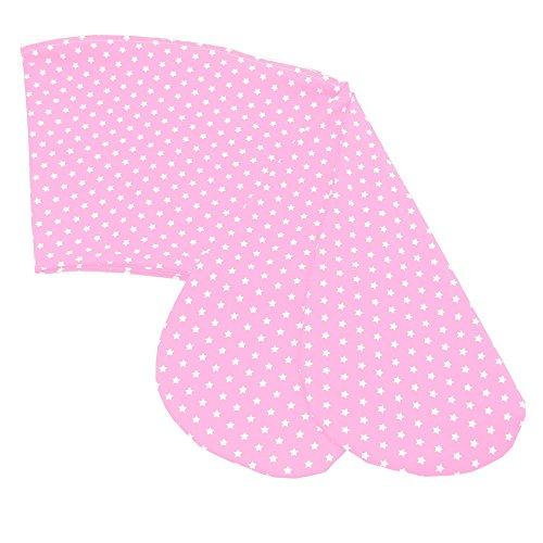 Sugarapple Stillkissenbezug 170 cm Bezug für alle Stillkissen 170cm, 100% Baumwolle mit Reißverschluss, Rosa mit weißen Sternen