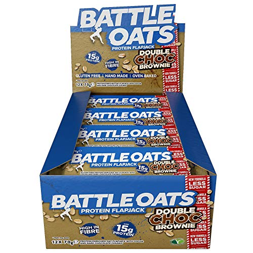 Battle Oats High Protein Flapjack, 12 x 70 g Protein Bars - Double Choc Brownie