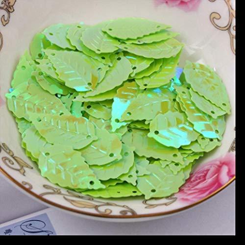 ALENAOO 520 Stück Blatt Pailletten 13 * 24mm PVC Nähen DIY Kleidungsstück Zubehör Blätter mit 2 Löchern 10 Farben erhältlich Konfetti Spangles, Green AB