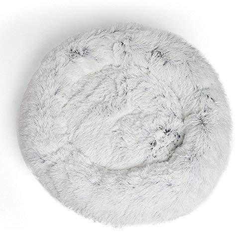 KongEU luxuriösen Hundekissen im Donut-Design,Hundebett Haustier Weichem Hundesofa für mittelgroße und grössere Hunde Kätzchen,gemütlich für besseren Schlaf,Maschinenwaschbar-S:60cm-Frost