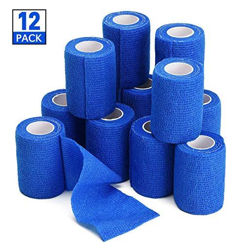 TOBWOLF 12 Stück Kohäsive Bandage Fixierbinde Selbsthaftend Elastisch (7.5cm*4.5m, Blau)