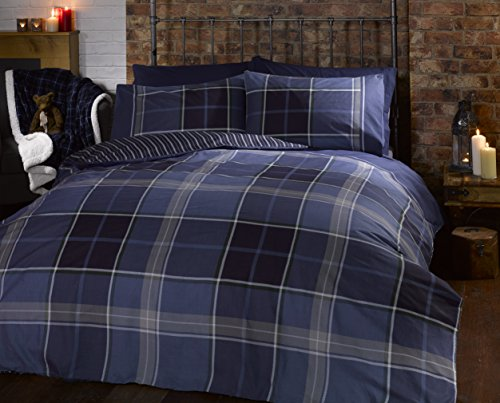 Argyle King Size Quilt Duvet Cover and 2 Pillowcase Reversible Bedding Bed Set, Tartan Check - Blue