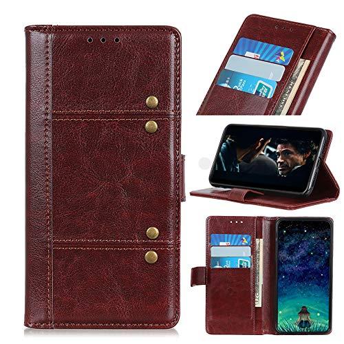 SCRENDY Hochwertige Leder Handyhülle für Xiaomi Mi 11 Ultra Hülle, Flip Hülle Tasche mit Magnetverschluss, Leder Schutzhülle mit Kreditkarten, Braun
