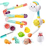 CUTE STONE Bath Toy Bathtub Toy, Shower Head Floating Squirting Toys Dinosaurs Fishing Game for...