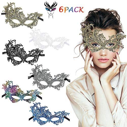 LADES Masquerade Maske - Halloween Masquerade Sexy Spitze Augenmaske Lace Damen Maskenspiel Für Halloween Weihnachten Karneval Maskentanzabend Party (Colorful Phönix)