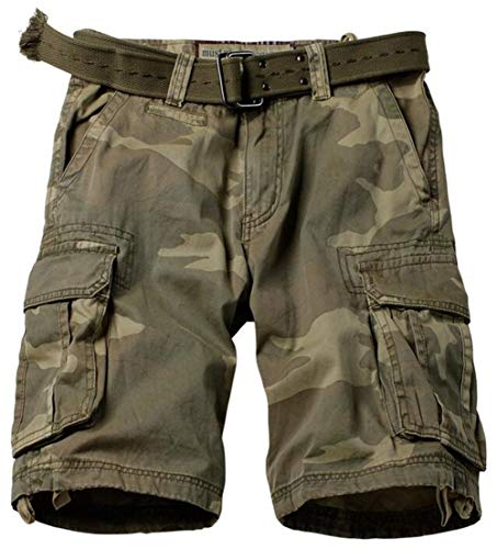 DHYZZ Hommes 100% Coton Forces Spéciales Desert Camo Shorts Combat Militaire Multi Poche Cargo Court Pantalon (32/L(Length:106cm), C34)