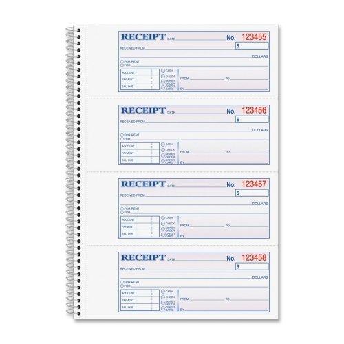 Wholesale CASE of 20 - Adams Wirebound Money/Rent Receipt Books-Money/Rent Receipt Bk,Spiral,2-Part,7-5/8'x11',200/BK