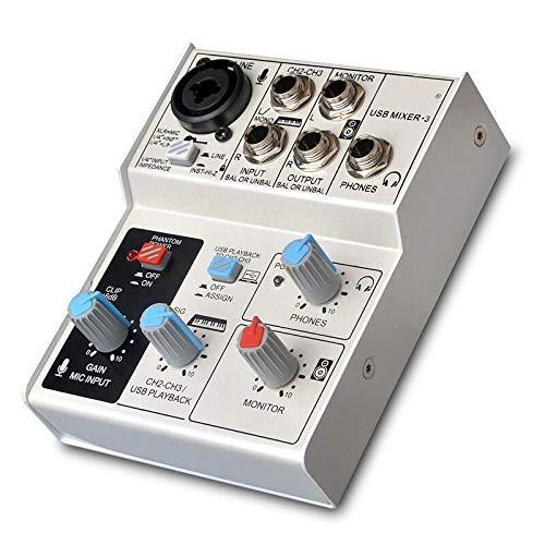 QWERTOUY externe USB-recording computer afspelen 4-kanaals plug stereo professionele audio mixer met soundkaart mixer