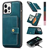 ZICISI for Apple iPhone 12 pro max Wallet Case with Card Holders for Men & Women,PU Leather Slim Flip Detachable Magnetic Protective Cover with Stand & Wireless Charging,6.7 Inch - Teal