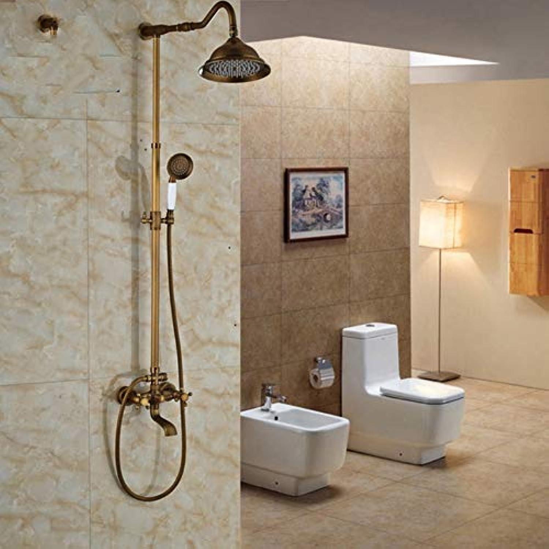 Lddpl Badezimmer 8 Regendusche Duschkopf Komplette Wasserhahn Antike Messing Badewanne Und Dusche Wasserhahn Set Mit Handbrause