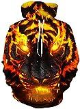 Loveternal 3D Impreso Sudaderas con Capucha Tiger Hoodie de Manga Larga Jersey Tigre Pullover Sweatshirt para Niños Niñas M