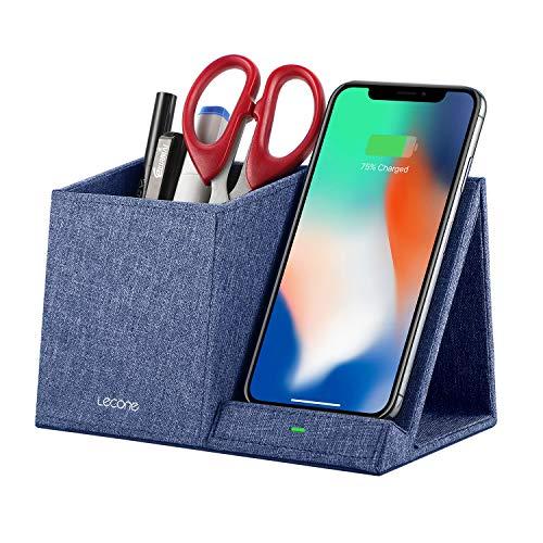 Lecone 10W Fast Wireless Charger mit Organizer, Kabelloses Ladegerät mit Stifthalter für iPhone 11/XS MAX/XR/XS/X/8/SE 2020, Samsung Note 10/S20/S10/S9/S9+/S8/S8+ & Anderen Qi-Fähigen Geräte (Blau)