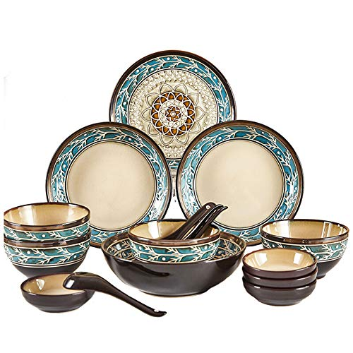 XLNB 16 Piece Retro Dinnerware Set, Ins Popular Dish Set, Moroccan Style Pattern, Plates Bowls and Spoons, Service for 4