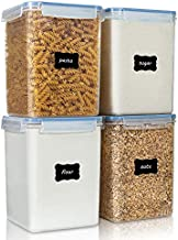 Large Food Storage Containers 5.2L / 176oz, Vtopmart 4 Pieces BPA Free Plastic Airtight Food Storage Canisters for Flour, Sugar, Baking Supplies, with 4 Measuring Cups and 24 Labels, Blue