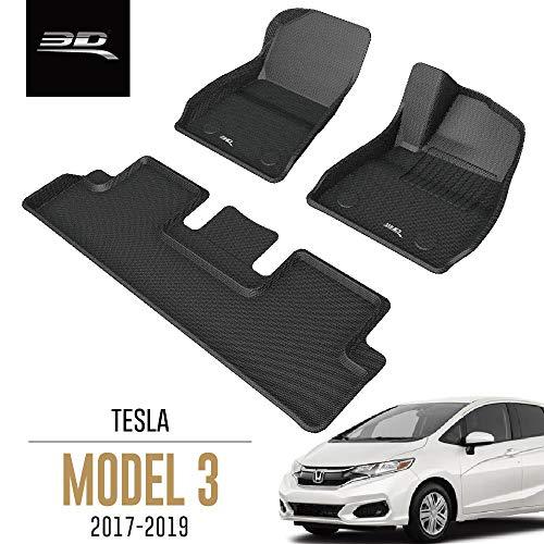 3D MAXpider Tesla Model 3 2017-2019 Custom Fit All-Weather Car Floor Mats Liners, Kagu Series (Complete Set, Black)