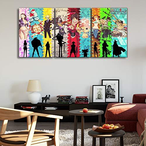Zhuhuimin decoratieprints die 3 platen een fotowand kunst modulair zeildoekpocketcaricatuur, moderne nachtkastachtergrond beschilderd 50cmx70cmx3pcs 3 stuks.