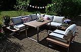 Bomey Dining Atlanta - Juego de sofá esquinero y sillón de esquina, color marrón, mesa en acero inoxidable y madera de teca y cojines en color beige, jardín + terraza + jardín de invierno