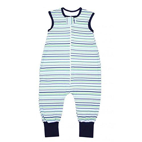 TupTam Unisex Babyschlafsack mit Beinen Unwattiert, Farbe: Streifenmuster Grün, Größe: 80-86