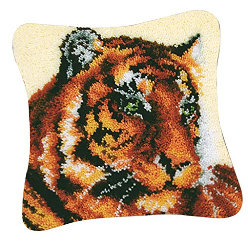 Baoblaze DIY Kissenbezug- Tier Muster Knüpfkissen für Kinder und Erwachsene zum Selber Knüpfen Kissen Hülle, Latch Hook Kit - Tiger