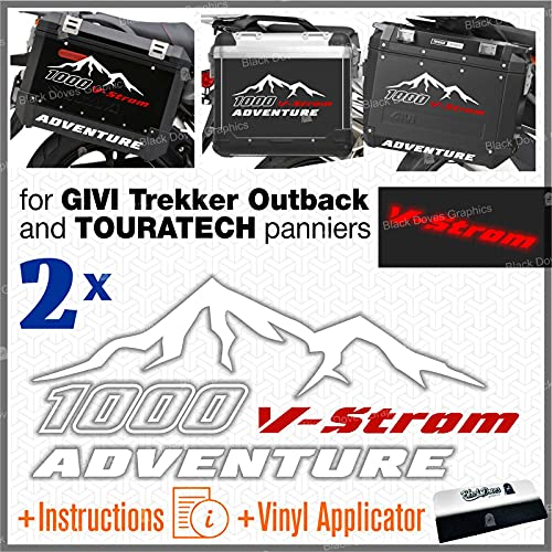 Kit de 2 adhesivos compatibles con maletas laterales originales Suzuki V-Strom 1000 y Touratech Allu y Givi Trekker Outback (blanco-rojo)