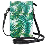 Teléfono celular monedero exótico hojas tropicales pequeña bolsa de teléfono celular monedero para mujeres...