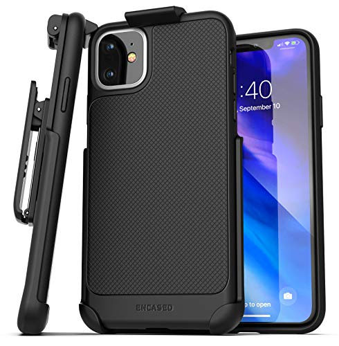Encased iPhone 11 Belt Clip Case (Thin Armor) Slim Grip Cover with Holster - Black