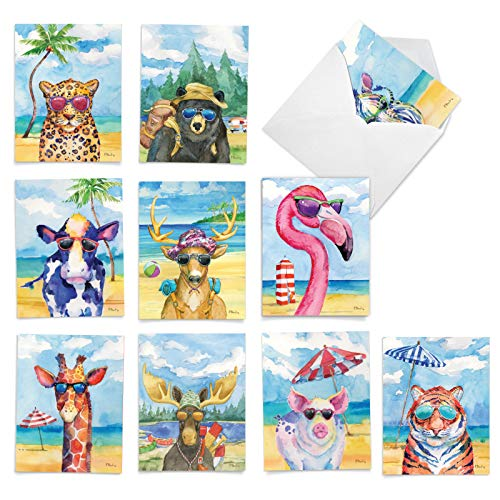 Animal's Day Off - 10 Watercolor Animal Thank You Greeting Cards with Envelopes (4 x 5.12 Inch) - Wildlife Vacation, Appreciation Grateful Note Card Set - All Occasion Thanks Notecard AM6670TYG-B1x10