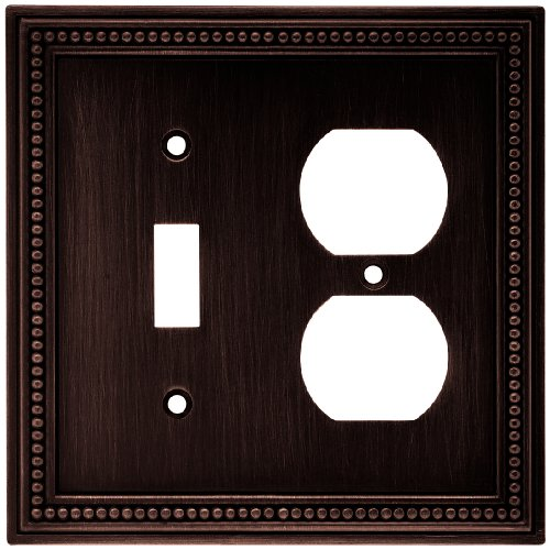 Brainerd 64406 Beaded Single Toggle Switch/Duplex Outlet Wall Plate / Switch Plate / Cover, Venetian Bronze