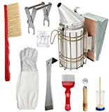 Sibosen Bee Hive Smoker Stainless Steel with Heat Shield - Set of 9 Beekeeping Equipment Supplies Tool Kit w/Beekeeping Gloves