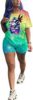 Women 2 Piece Outfits Short Sleeve Tie Dye T-Shirt Top and Short Pants Set Bodycon Clubwear Tracksuit