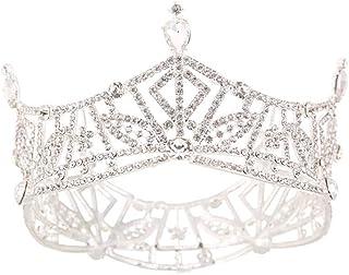 LiChaoWen Corona Full Crystal Rotonda Corona Strass Nuziale Diadema Principessa Copricapo Wedding Accessori for Capelli Pa...