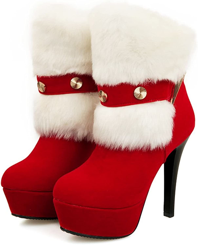SaraIris Plush Mental Decoration Platform High Heels Solid Ankle Boots for Women
