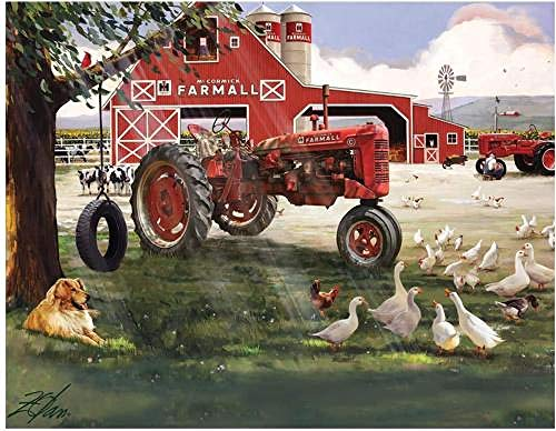 The Jigsaw Puzzle Factory Farmall Tractor Big Red Barn Farm Animals Puzzle Game for Kids and Adults with Collectible Box